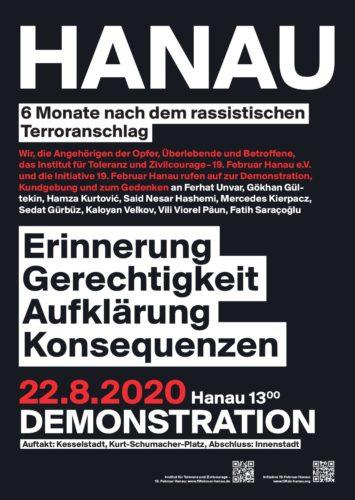 Aufruf Demo in Hanau 22.8.20.