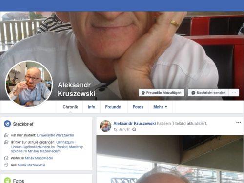 Screenshot Facebook Account Aleksander Kruszewski.