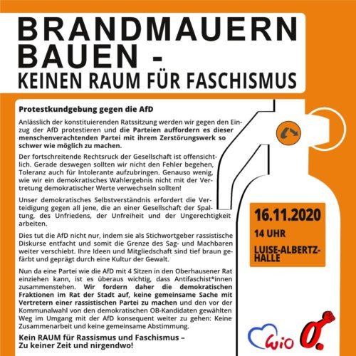 Protestkundgebung 16.11.20 - gegen die AfD Luise -Albertz-Halle Oberhausen